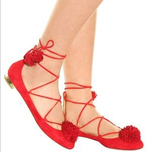 Beautiful Aquazurra Sunshine Flats.Red.NIB. sz38.5